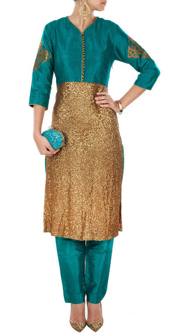 Teal green color designer trouser suit