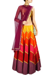 Tones of Orange Red Lehenga Set