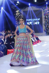 Multicoloured lehenga in Zardozi Embroidery