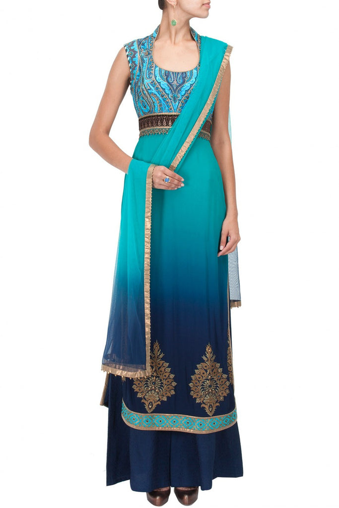 Turquoise  and blue kurta set