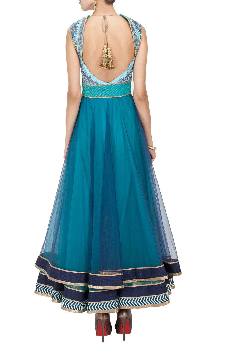 Turquoise and blue shaded anarkali suit