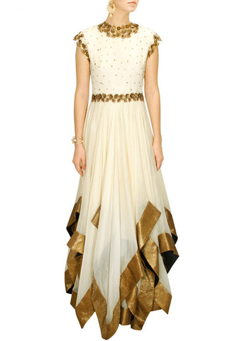 White flaired anarkali suit