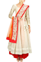 White and orange anarkali lehenga