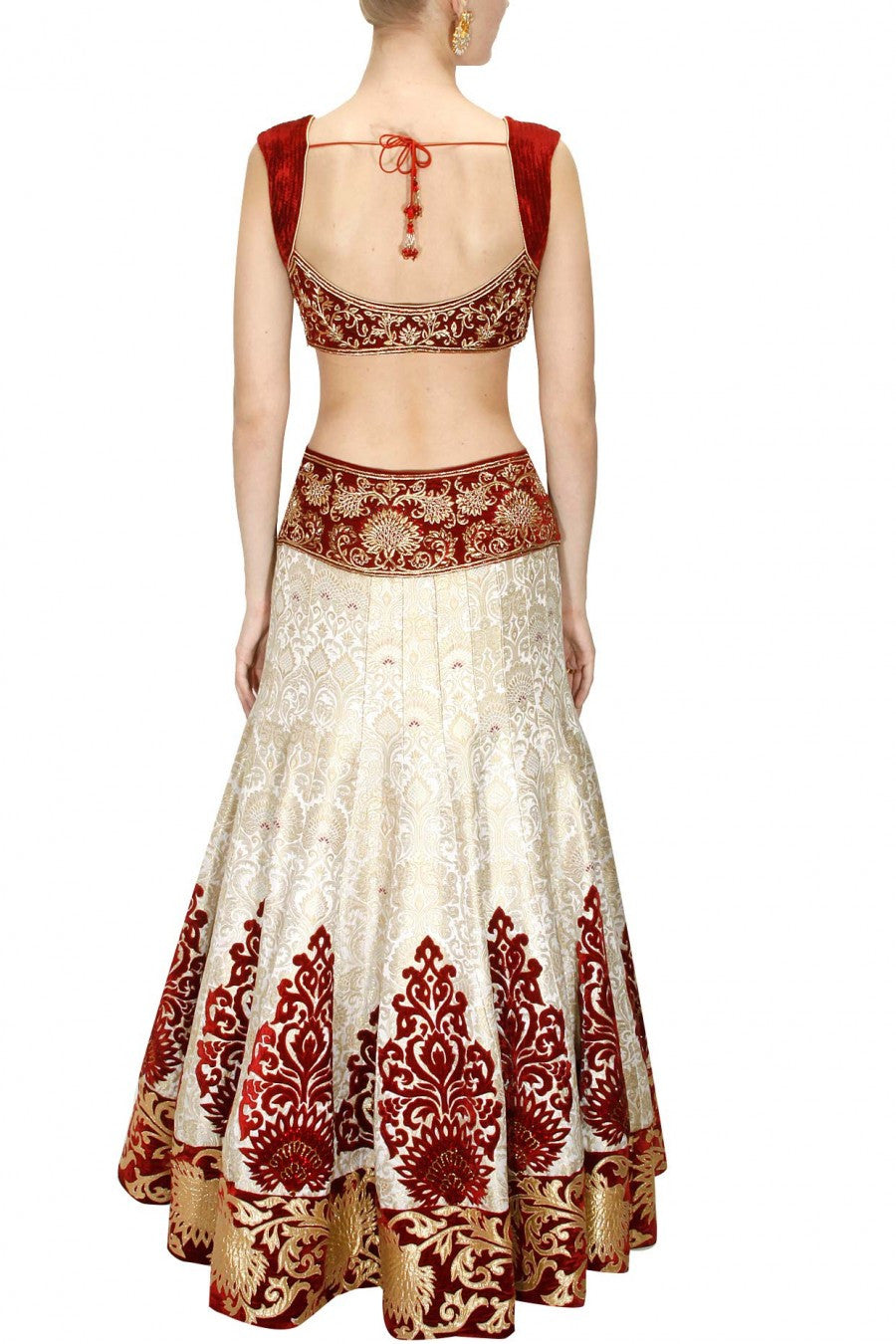 OffWhite and Maroon Lehenga Choli