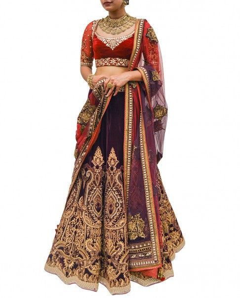 Dark Purple Wedding Lehenga