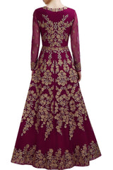 Dark Purple color floor length anarkali gown