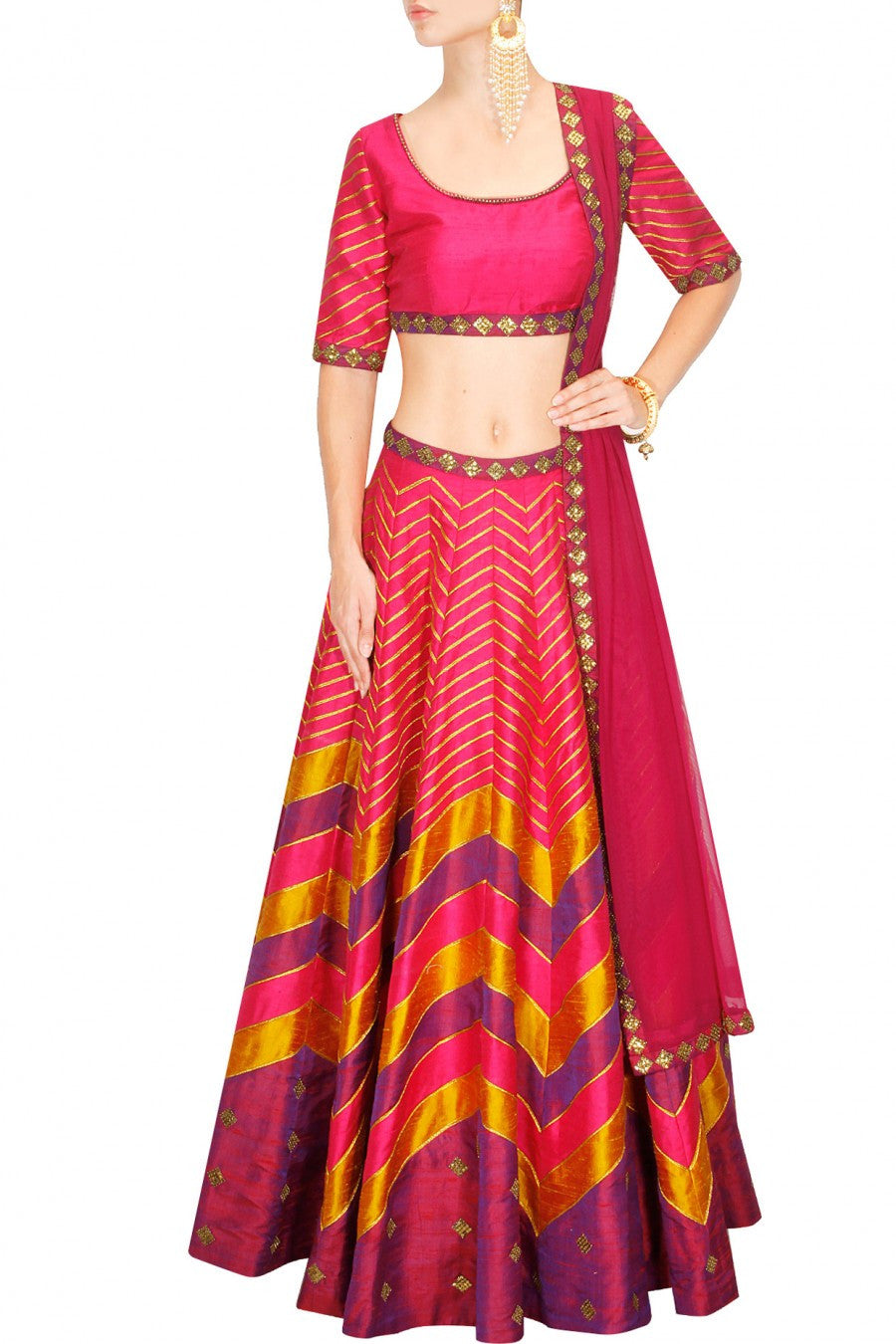 Pink Embroidered lehenga choli by Priyal Prakash