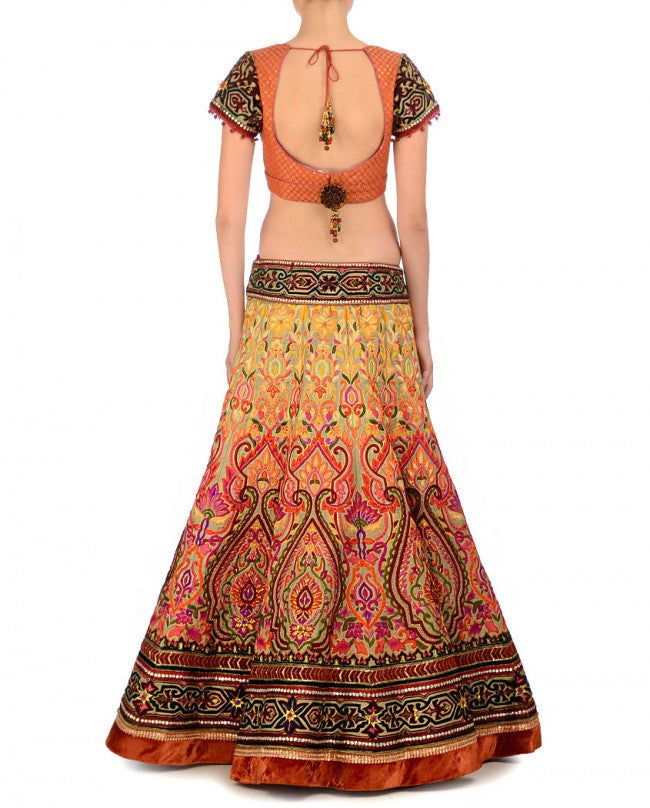 Yellow and rust bridal lehenga choli