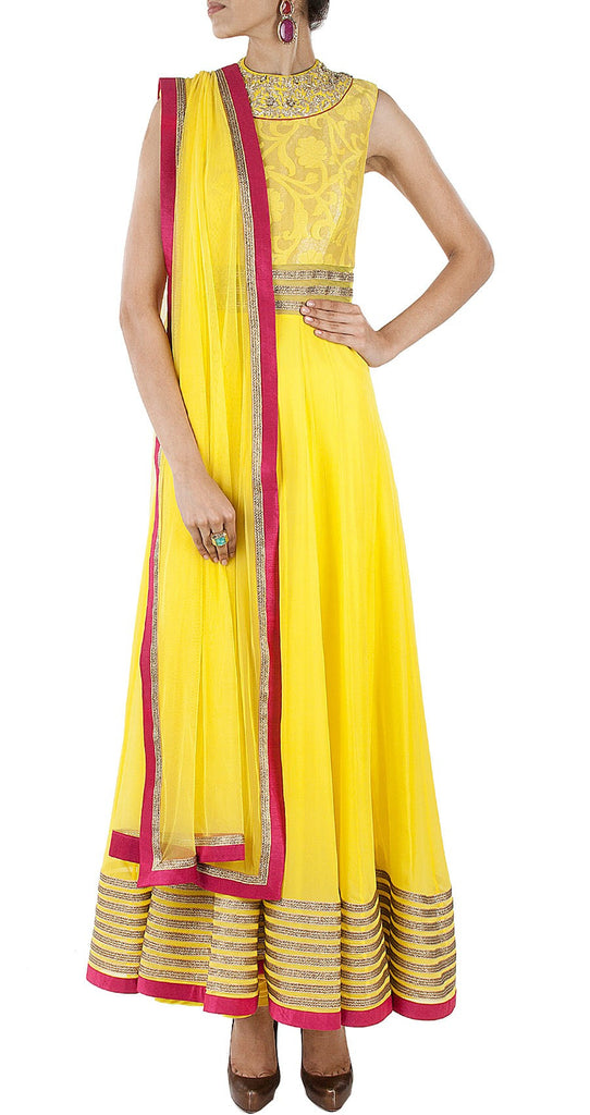 Yellow color long anarkali salwar kameez