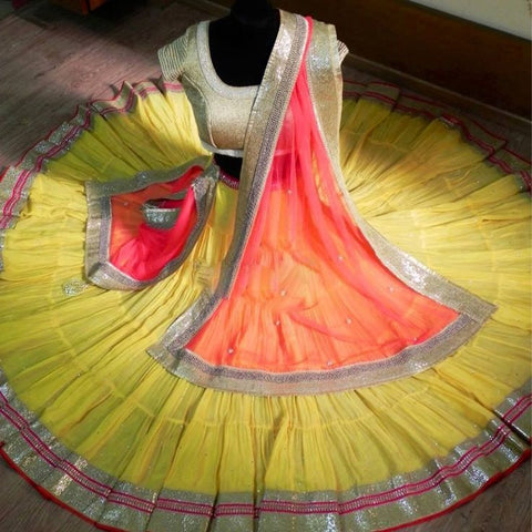 yellow flaired lehenga choli