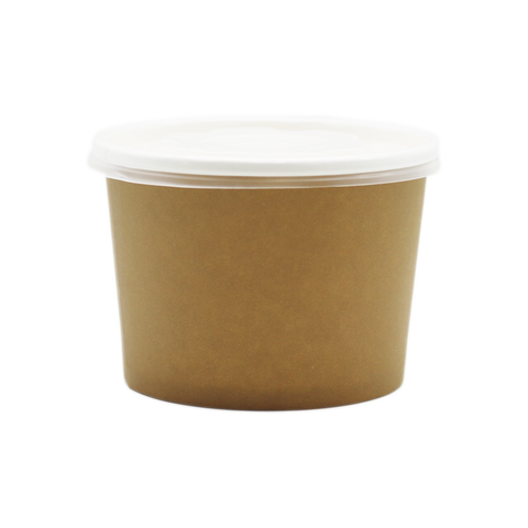 Container Coated Bowl Round 16oz Brown With Lid (Set)
