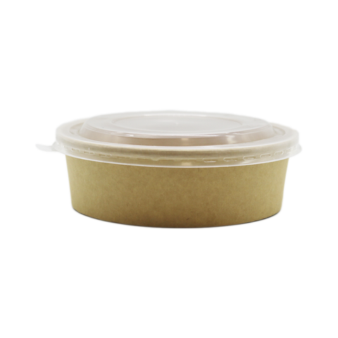 Container Coated Craft Salad Bowl Round 16oz Brown With Lid (Set)
