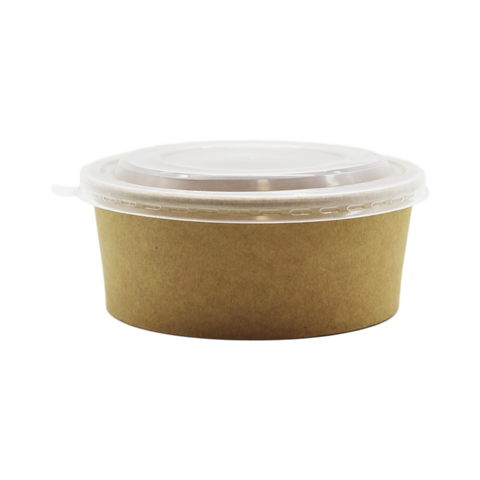 Container Coated Craft Salad Bowl Round 25oz Brown With Lid (Set)