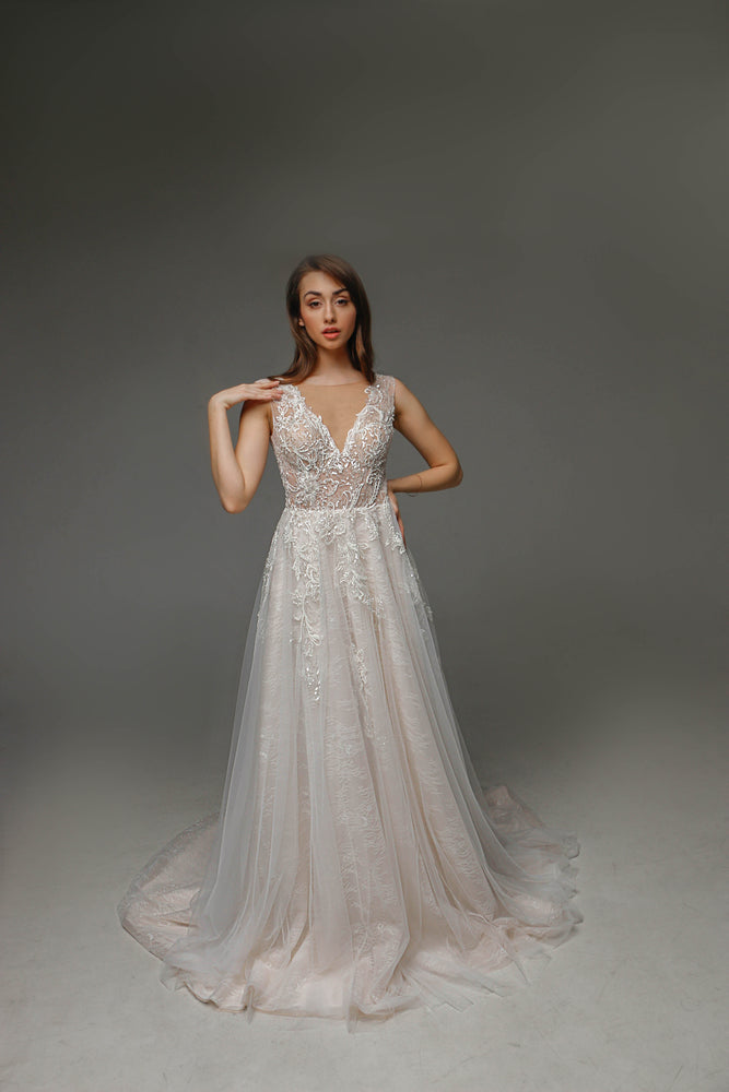 V0105, Romantic Wedding Dress, Open Back Wedding Dress