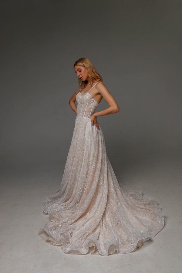 V0108, Boho Wedding Dress