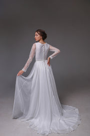 V0114,Long Sleeve Wedding Dress, Shifon Wedding Dress