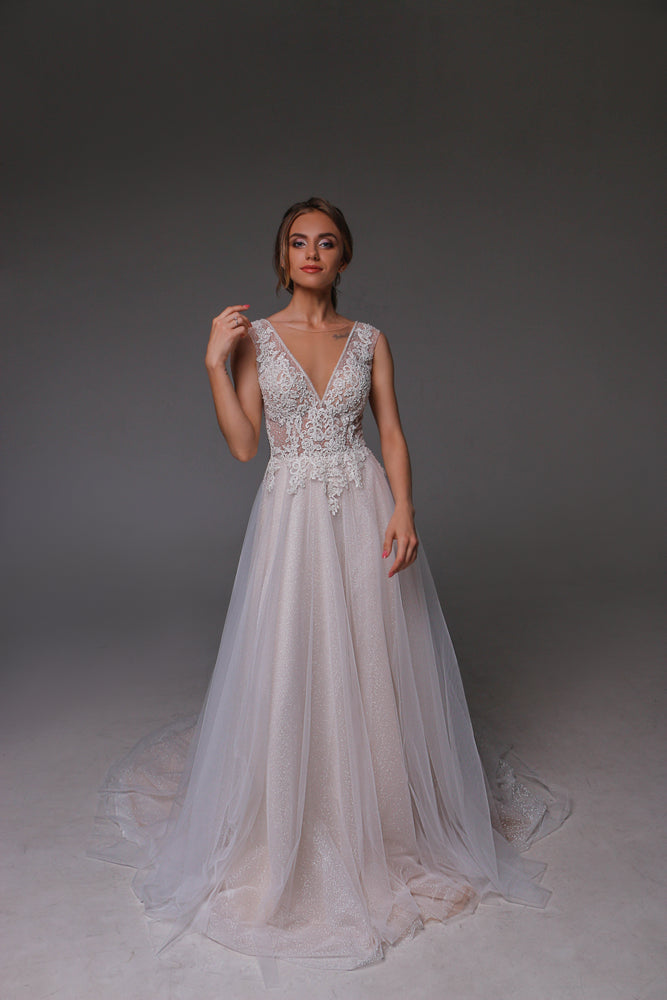 V0127,Boho Wedding Dress,Tulle Wedding Dress