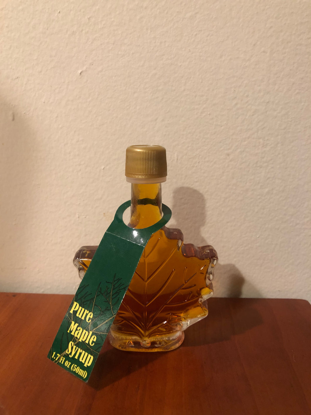Maple Syrup in a Decorative Glass Maple Leaf Jar - Small 1.7oz