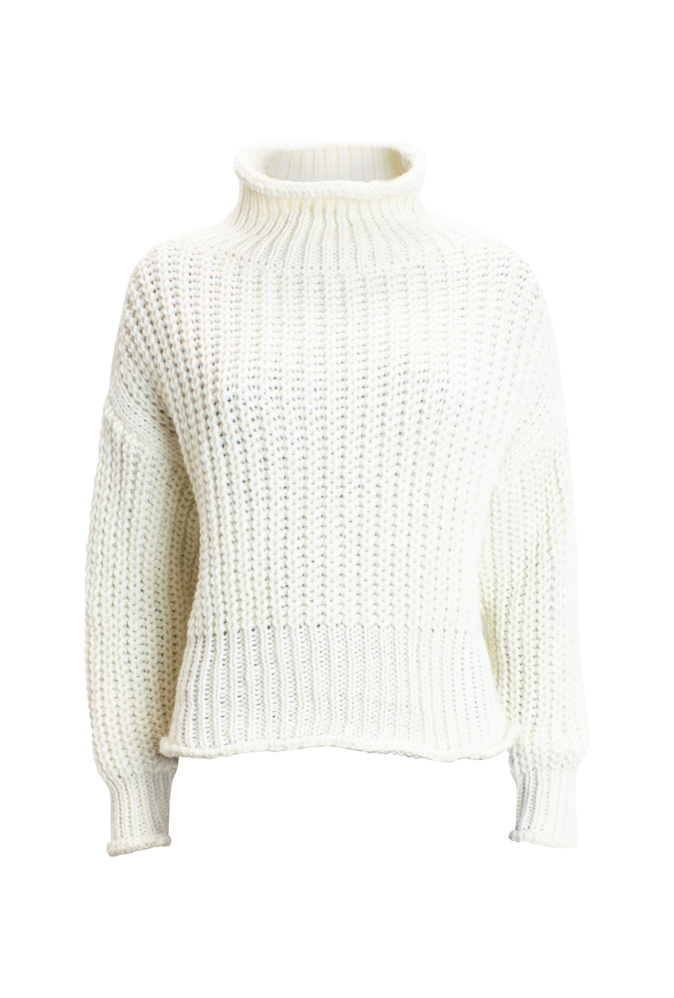 Stehkragenpullover One-Size in Patentstrick-Optik