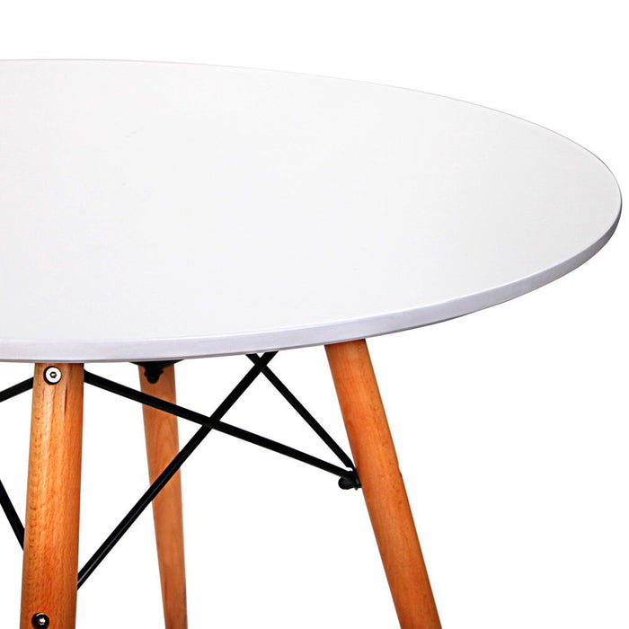 Round Dining Table 4 Seater 80cm White Replica Eames DSW Cafe Kitchen Retro Timber Wood MDF Tables
