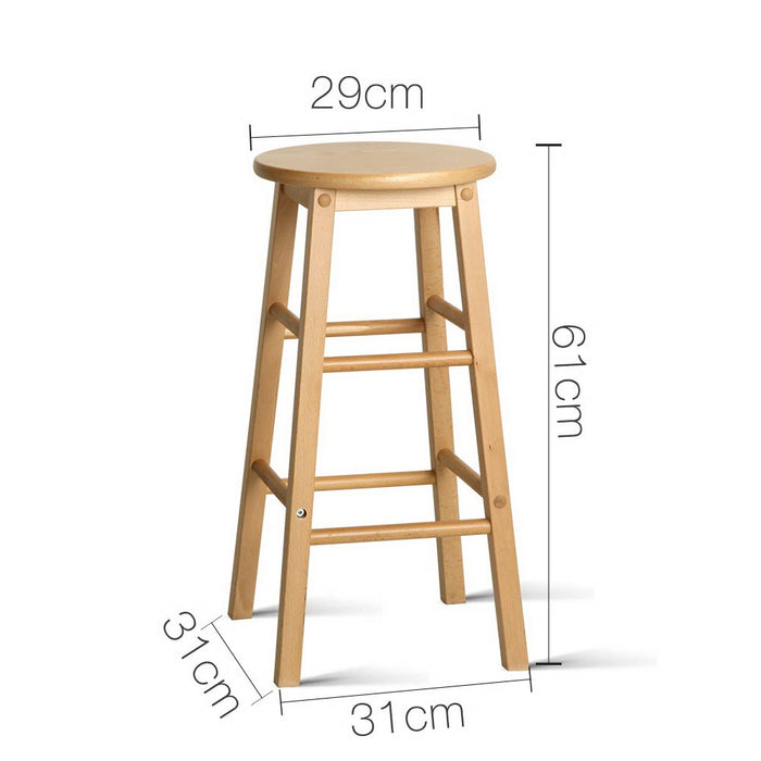 Set of 2 Beech Wood Backless Bar Stools - Natural
