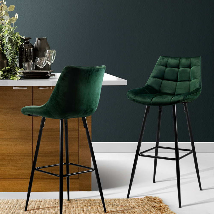 Kitchen Bar Stools Velvet Bar Stool Counter Chairs Metal Barstools Green