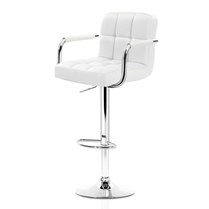 2x Bar Stools Gas lift Swivel Chairs Kitchen Armrest Leather Chrome White