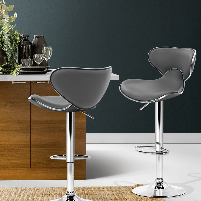 2x Bar Stools Gas lift Swivel Chairs Kitchen Leather Chrome Grey