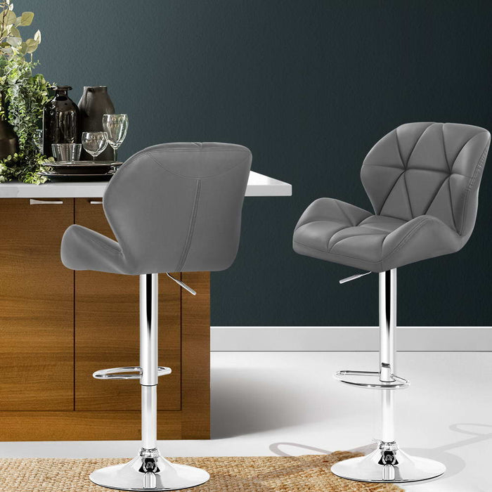 2x Bar Stools Gas Lift Kitchen Swivel Chairs Leather Chrome Grey