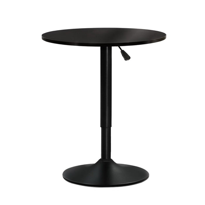 Adjustable Bar Table Gas Lift Wood Metal Black