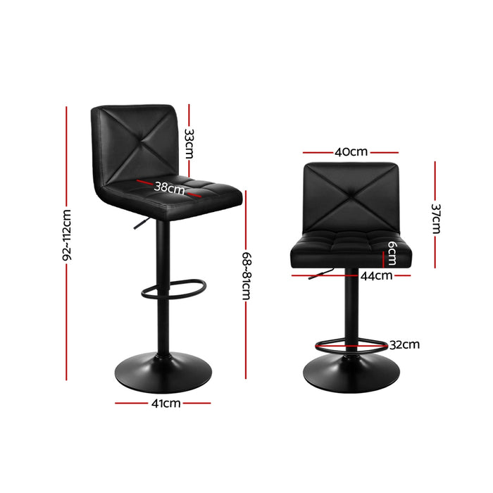 Set of 2 PU Leather Gas Lift Bar Stools - Black