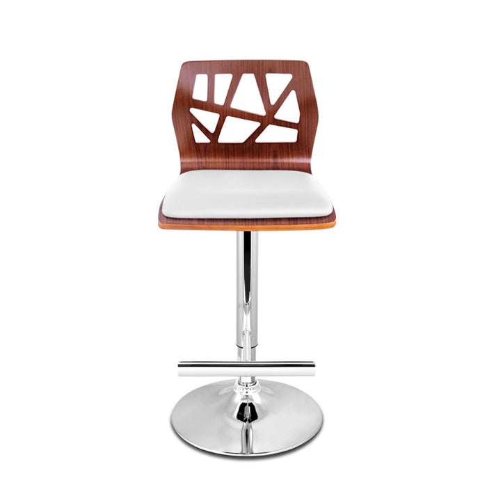 Set of 2 Wooden Gas Lift  Bar Stools - White