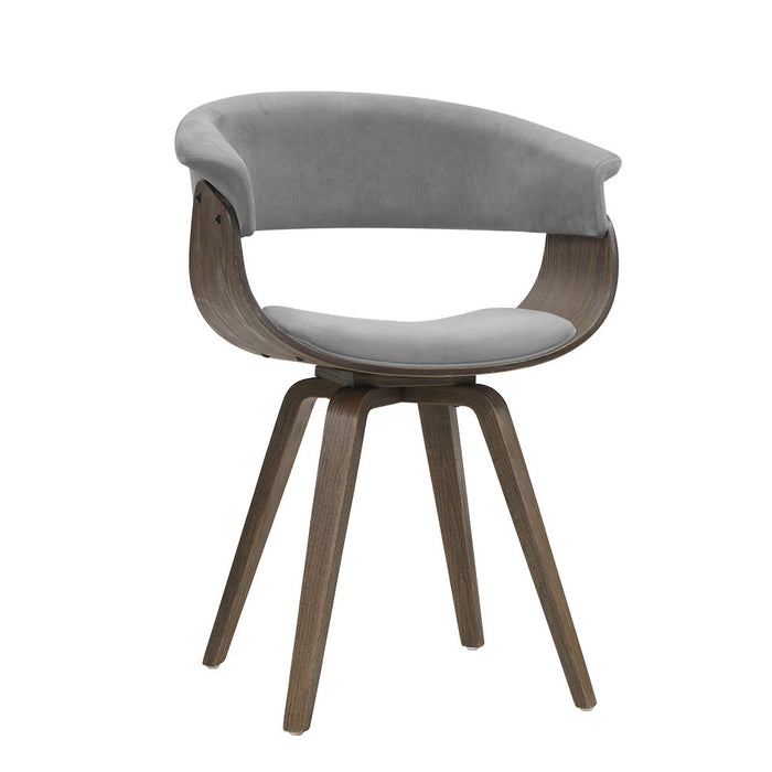 Dining chairs Bentwood Chair Kitchen Velvet Fabric Timber Wood Retro Grey
