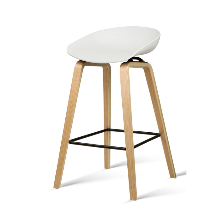 Set of 2 Wooden Backless Bar Stools - White