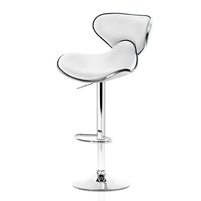 2x Bar Stools DINO Kitchen Swivel Bar Stool Leather Gas Lift Chairs White