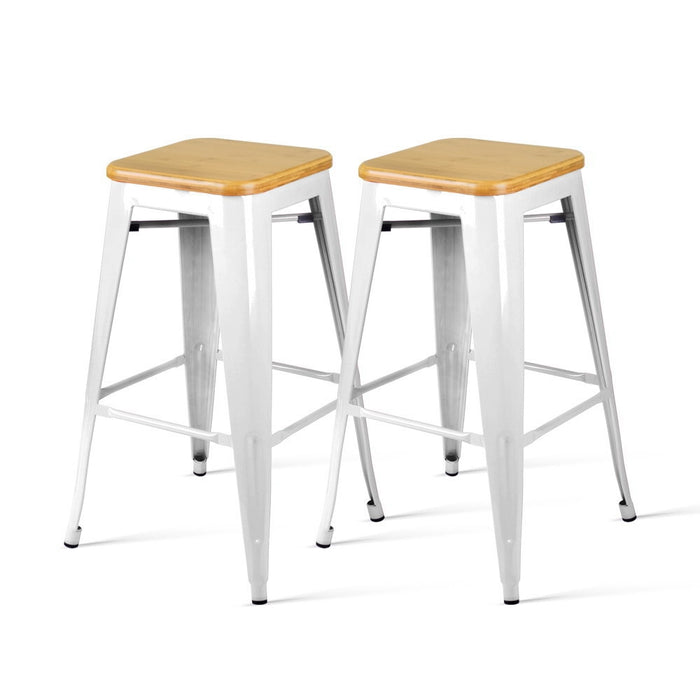 Set of 2 Metal and Bamboo Bar Stools - White