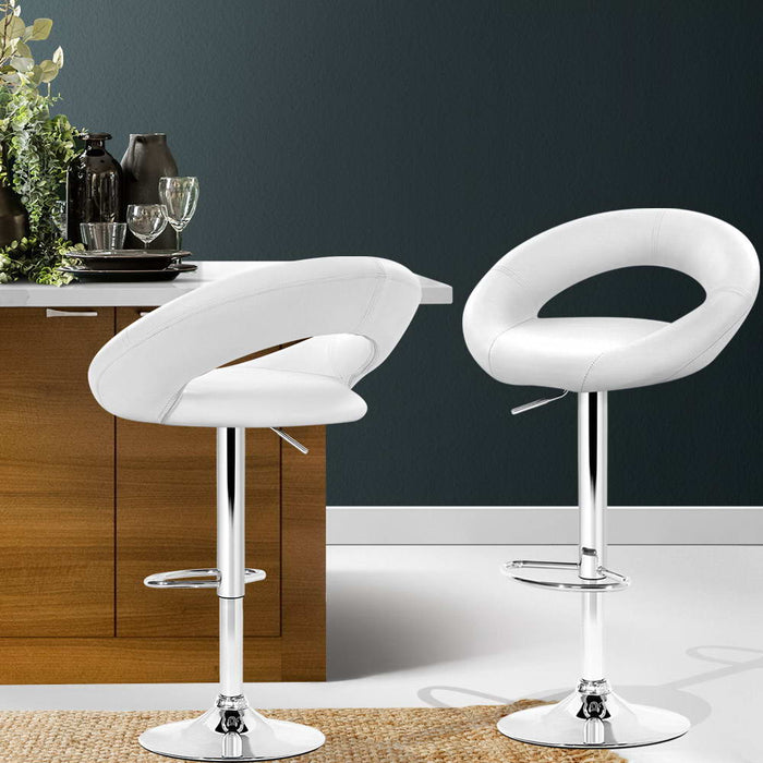 2x Gas Lift Bar Stools Swivel Chairs Leather Chrome White
