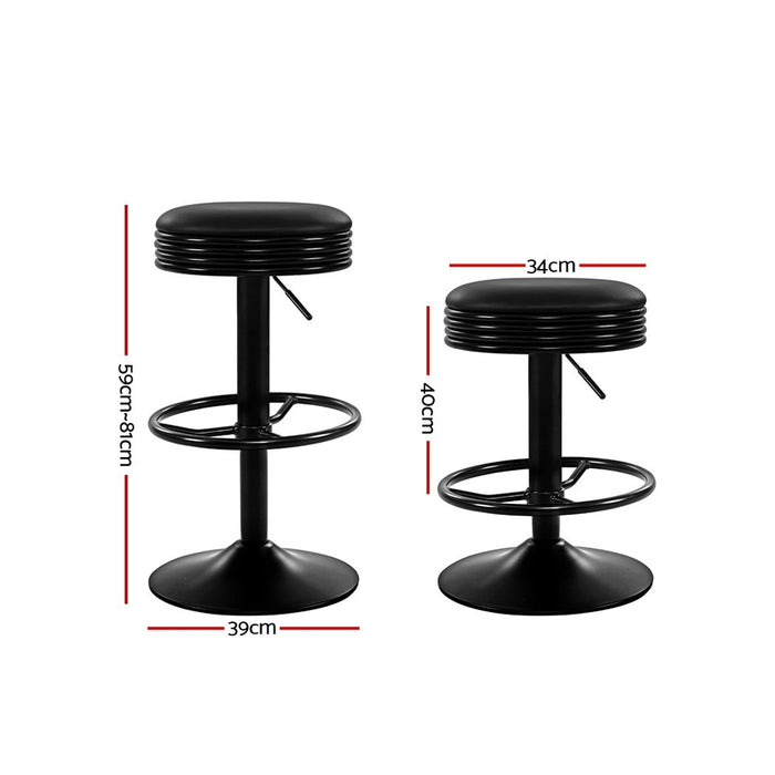 2x Kitchen Bar Stools Gas Lift Bar Stool Chairs Swivel Barstools Black