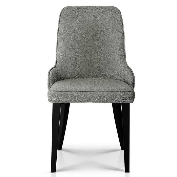 Set of 2 Fabric Dining Chairs - Grey