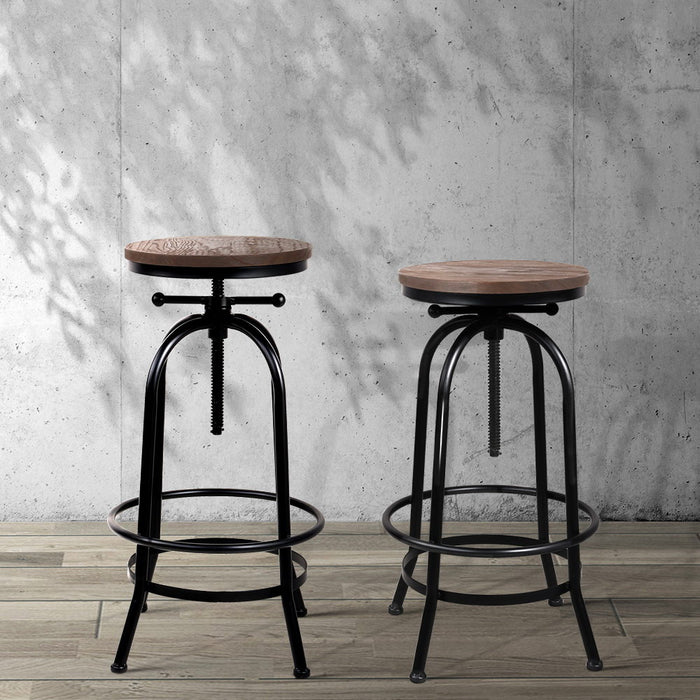 Rustic Industrial Round Bar Stool