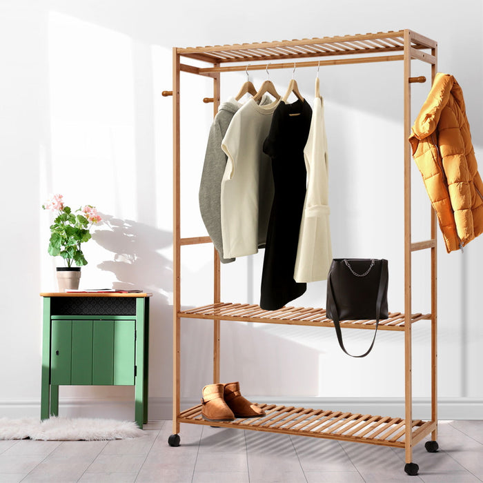 Bamboo Clothes Rack Coat Stand Garment Hanger Wardrobe Portable Airer