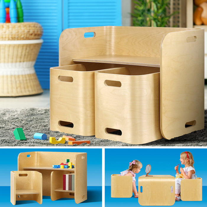 3PC Kids Table and Chairs Set Toys Play Desk Children Shelf Storage Beige