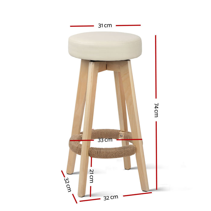 2x Kitchen Bar Stools Wooden Bar Stool Swivel Barstools Counter Chairs 74cm Leather  Cream