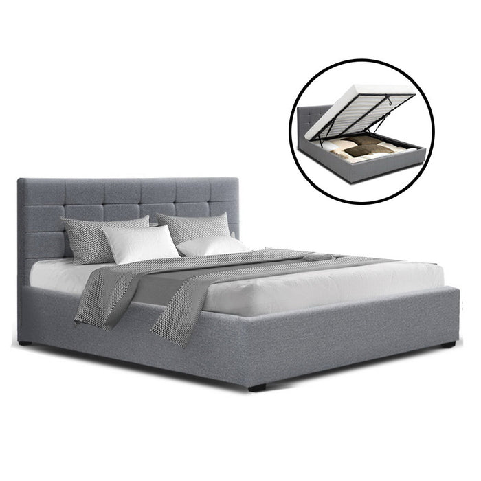 LISA Queen Size Gas Lift Bed Frame Base With Storage Mattress Grey Fabric