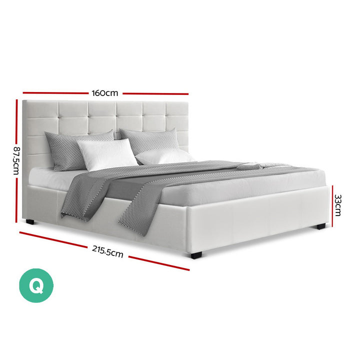 LISA Queen Size Gas Lift Bed Frame Base With Storage Mattress White Leather