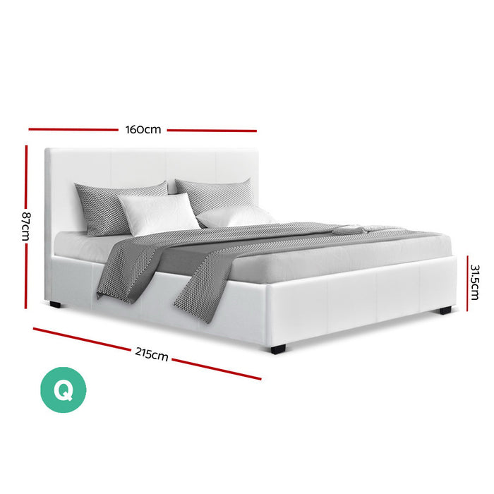 Queen Size PU Leather and Wood Bed Frame Headborad -White