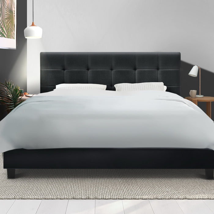 SOHO Double Size Bed Frame Tufted Headboard Fabric Charcoal