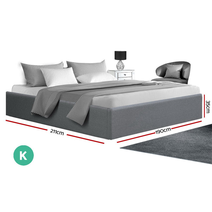 King Size Gas Lift Bed Frame Base With Storage Platform Fabric