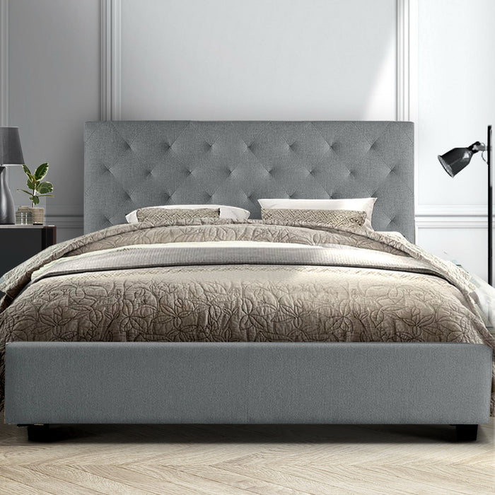 Queen Size Fabric Bed Frame  Headboard - Grey