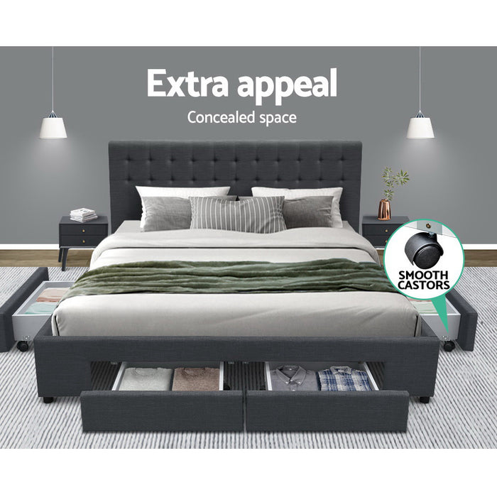 Double Size Fabric Bed Frame Headboard with Drawers  - Charcoal